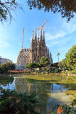 Basilica church Sagrada Familia seen from Placa de Gaudi in Barcelona Stock Image