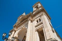 Basilica Church of SS. Cosma e Damiano. Alberobello. Puglia. Italy. Royalty Free Stock Photo