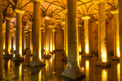 Basilica Cistern Columns. Columns in the underground Basilica Cistern Istanbul,Turkey royalty free stock photography