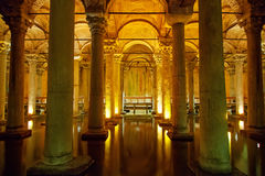 Basilica Cistern. Illuminated ancient dungeon in Istanbul Stock Photography