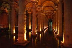 Basilica cistern, Istanbul. Underground water basin of the Yerebatan basilica cistern in Istanbul, Turkey Stock Images
