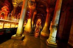 Basilica Cistern in Istanbul. Illuminated architectural details of Basilica Cistern, Istanbul, Turkey stock image