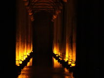 Basilica Cistern Istanbul. Columns and lights and water Stock Photography