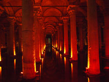 Basilica Cistern. Istanbul, Turkey - January 2012 : The Basilica Cistern is the largest of several hundred ancient cisterns that lie beneath the city. Inside the Royalty Free Stock Photos