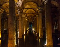 The Basilica Cistern, is the largest of several hundred ancient cisterns that lie beneath the city of Istanbul formerly. Constantinople, Turkey royalty free stock photography