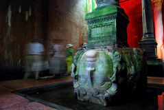 Basilica Cistern - Medusa head. The cistern, located 150 m west of the Hagia Sophia on the historical peninsula of Sarayburnu, was built in the 6th century Stock Image