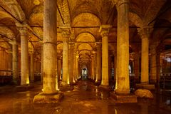 The Basilica Cistern - underground water reservoir build by Emperor Justinianus in 6th century, Istanbul, Turkey.  stock image