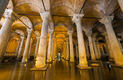 The Basilica Cistern - underground water reservoir build by Emperor Justinianus in 6th century, Istanbul, Turkey.  Royalty Free Stock Photography