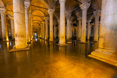 The Basilica Cistern - underground water reservoir build by Emperor Justinianus in 6th century, Istanbul, Turkey Royalty Free Stock Images