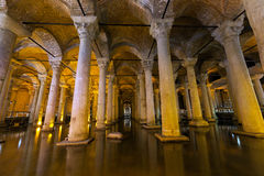 The Basilica Cistern - underground water reservoir build by Emperor Justinianus in 6th century, Istanbul, Turkey Royalty Free Stock Photos