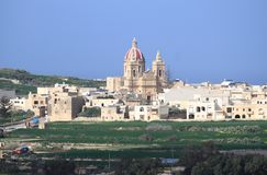 Church of the Visitation of Our Lady. Basilica and Collegiate Parish church of the Visitation of Our Lady in Gharb. Gozo Island, Malta Stock Photography
