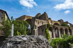 The Basilica of Constantine and Maxentius in the Roman Forum Stock Image