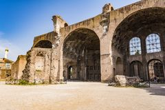 The Basilica of Constantine and Maxentius in the Roman Forum Royalty Free Stock Photos