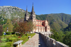 Basilica of Covadong. Photo of the basilioca of Covadonga with sun light Royalty Free Stock Photos
