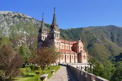 Basilica of Covadonga. Photo of the basilica of Covadong with sun light Royalty Free Stock Photo