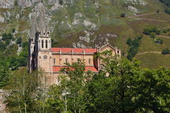 Basilica of Covadonga. Photo of the basilica of Covadong with sun light Stock Photos