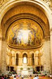 Basilica de Sacre Coeur教会在巴黎 库存照片