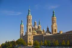 Basilica del Pilar in a bright sunny day. Zaragoza, Spain Royalty Free Stock Images