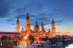 Basilica Del Pilar in Zaragoza. In night illumination, Spain Royalty Free Stock Photography