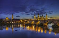 Basilica Del Pilar in Zaragoza. In night illumination, Spain Royalty Free Stock Photos