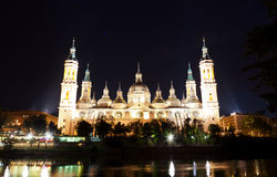 Basilica Del Pilar in Zaragoza in night Royalty Free Stock Image