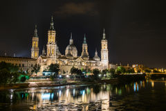 Basilica del Pilar. In Zaragoza, Spain, during the night Royalty Free Stock Photography