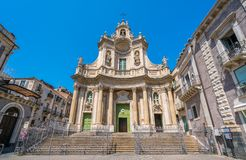 Basilica della Collegiata in Catania, Sicily, southern Italy. Catania is the second largest city of Sicily after Palermo located on the east coast facing the royalty free stock images