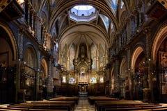 Basilica della vista dell'interiore del Montserrat Immagine Stock Libera da Diritti