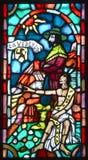 Basilica delle finestre di vetro macchiato del Notre-Dame-du-cappuccio Fotografie Stock Libere da Diritti