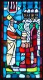 Basilica delle finestre di vetro macchiato del Notre-Dame-du-cappuccio Immagini Stock