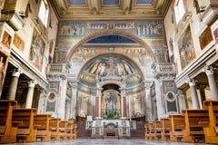 Basilica di圣诞老人Prassede内部  免版税库存图片
