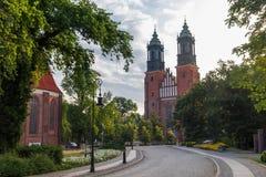 Basilica di Archcathedral dei san Peter e Paul a Poznan sul gatto fotografie stock libere da diritti