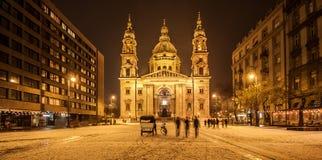 Basilica di Budapest entro la notte Immagini Stock Libere da Diritti