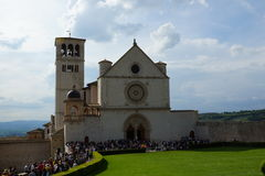 Basilica di San Francesco d'Assisi, Basilica of Saint Francis of Assisi. Pilgrims queueing in front of Basilica di San Francesco d'Assisi, Basilica of Saint Royalty Free Stock Photography