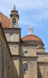 Basilica di San Lorenzo in Florence, Italy. Bell tower and dome detail on the Basilica di San Lorenzo in Florence, Italy royalty free stock photography