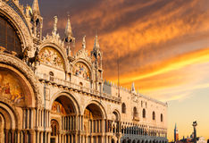 Basilica di San Marco during sunset in Venice Stock Images