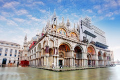 Basilica di San Marco under interesting clouds, Venice, Italy.  royalty free stock photos