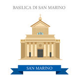 Basilica di San Marino Europe flat vector attraction landmark. Basilica di San Marino. Flat cartoon style historic sight showplace attraction web site vector Stock Image
