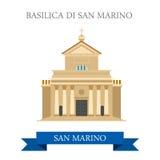Basilica di San Marino Europe flat vector attraction landmark. Basilica di San Marino. Flat cartoon style historic sight showplace attraction web site vector royalty free illustration