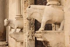 Basilica Di San Nicola .Bari. Apulia or Puglia. Italy. Detail of the entrance. Corbel. Basilica Di San Nicola. Bari. Apulia or Puglia. Italy stock images