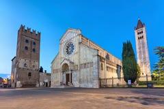 Basilica di San Zeno Maggiore in Verona. Basilica di San Zeno Maggiore in the evening, Verona, Italy Stock Photo
