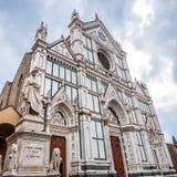 Basilica di Santa Croce with Dante statue in Florence, Italy Stock Photo