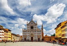 The Basilica di Santa Croce on square of the same name, Florence. View of the Basilica di Santa Croce Basilica of the Holy Cross on square of the same name in stock photography