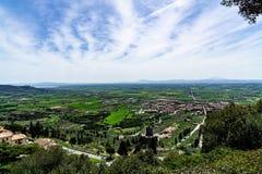 Landscape of Cortona city Tuscany royalty free stock photo