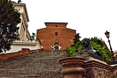 Basilica di Santa Maria in Aracoeli Rome Italy. Basilica di Santa Maria in Ara coeli-Landmark 1200s church atop a long flight of steps, known for its vibrant Royalty Free Stock Photos