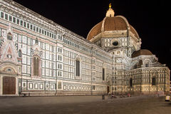 The Basilica di Santa Maria del Fiore at night, Florence, Italy. The Greatest church of Florence Basilica of Saint Mary of the Flower at night, Italy stock photography