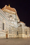 The Basilica di Santa Maria del Fiore at night, Florence, Italy. The Greatest church of Florence Basilica of Saint Mary of the Flower at night, Italy stock image