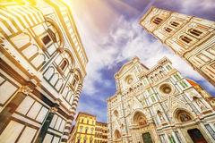 The Basilica di Santa Maria del Fiore (Basilica of Saint Mary of the Flower) and Giotto's Campanile Royalty Free Stock Images
