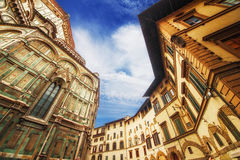 The Basilica di Santa Maria del Fiore (Basilica of Saint Mary of the Flower) and the surrounding architecture, Florence Stock Photos