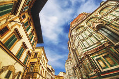 The Basilica di Santa Maria del Fiore (Basilica of Saint Mary of the Flower) and the surrounding architecture, Florence Royalty Free Stock Image